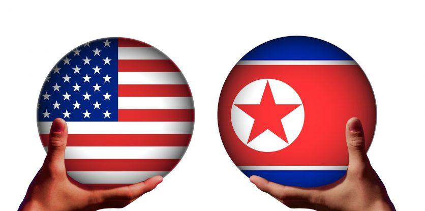 USA, Észak-Korea zászló