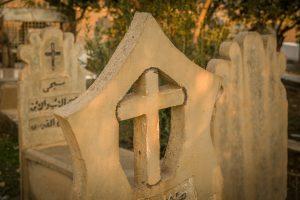 Keresztény síremlék a harmotai temetőben.